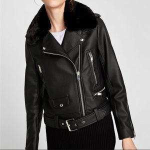 Zara | Faux Leather Biker Jacket with Fur Collar